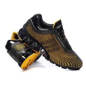 Men's Black and Yellow Colour Mesh Bowling Shoes