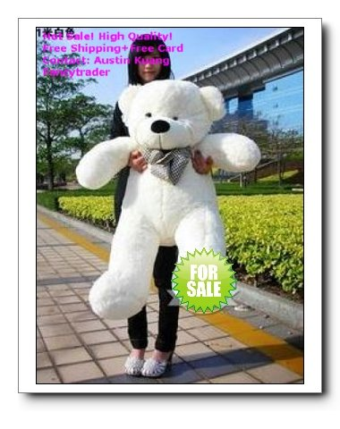 39 Inches Classical White Giant Plush Teddy Bear, Stuffed Teddy Bear