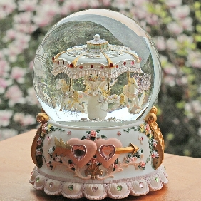 Carousel Within Four Horse Crystal Musical Box Castle in The Sky