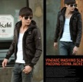 Men's Slim Fit Stylish PU Leather Hooded with Zipper High Collar Cotton Coat