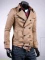 Men's Classic Fashion Double-breasted Large Lapel Jacket (Black Khaki) JK9