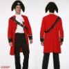 Red Full Length Single Breasted Worsted Halloween Costumes