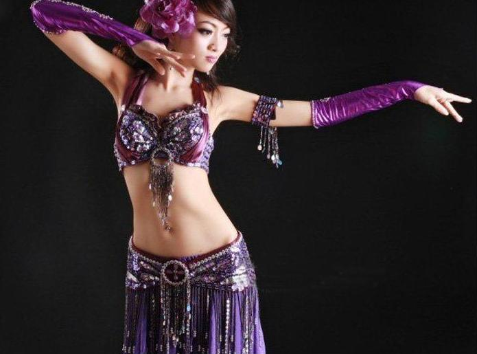 4pcs Sexy Purple Tribal Belly Dance Costume Set
