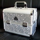 Silver Embroidery Beauty Makeup Case Nail Vanity Compact Case Co