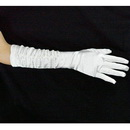Free Shipping Charming White Full Finger Ruched Bridal Satin Gloves