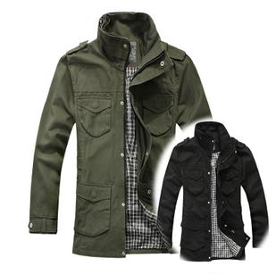 Amanda99 New Arrival High Neck Military Serie Meduim Pattern Hooded Coat For Man (Olive-drab Only Has M Yardage)